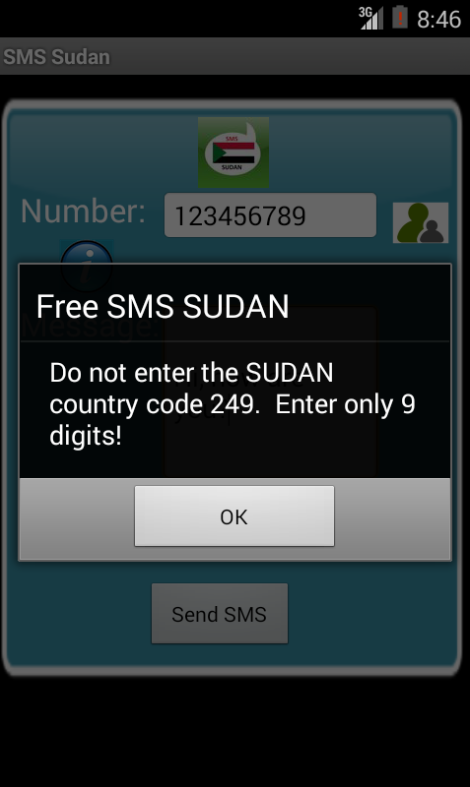 Free SMS Sudan Android App Screenshot Number Screen
