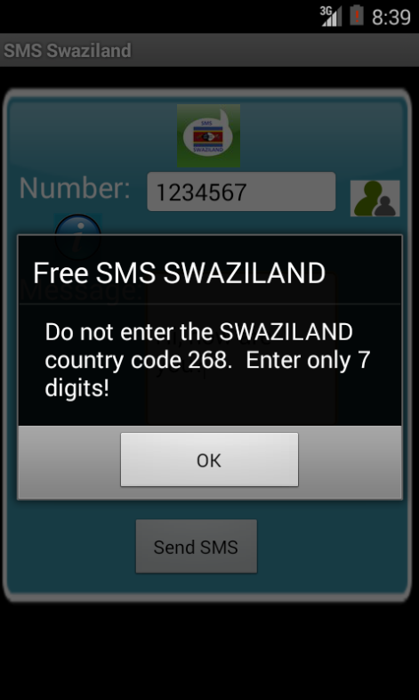 Free SMS Swaziland Android App Screenshot Number Screen
