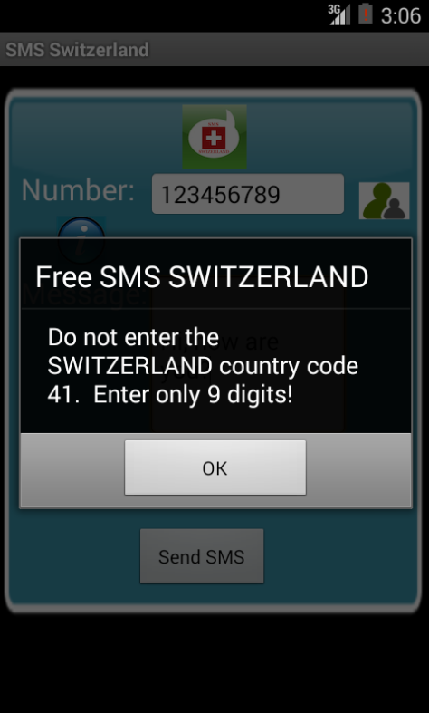 Free SMS Switzerland Android App Screenshot Number Screen