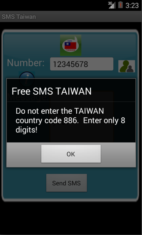 Free SMS Taiwan Android App Screenshot Number Screen