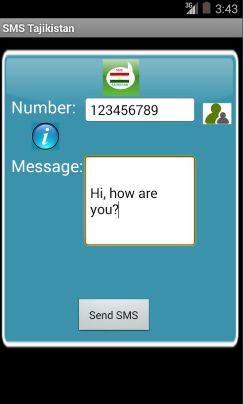 Free SMS Tajikistan Android App Screenshot Launch Screen