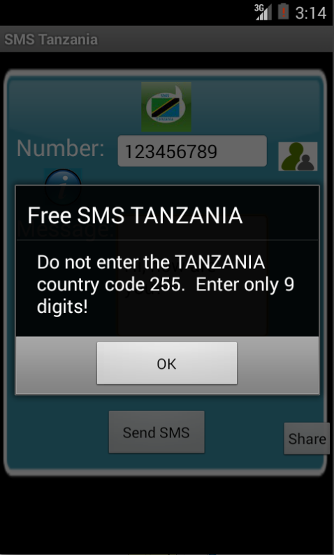 Free SMS Tanzania Android App Screenshot Number Screen