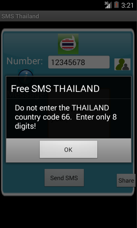 Free SMS Thailand Android App Screenshot Number Screen