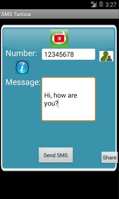 Free SMS Tunisia Android App Screenshot Launch Screen