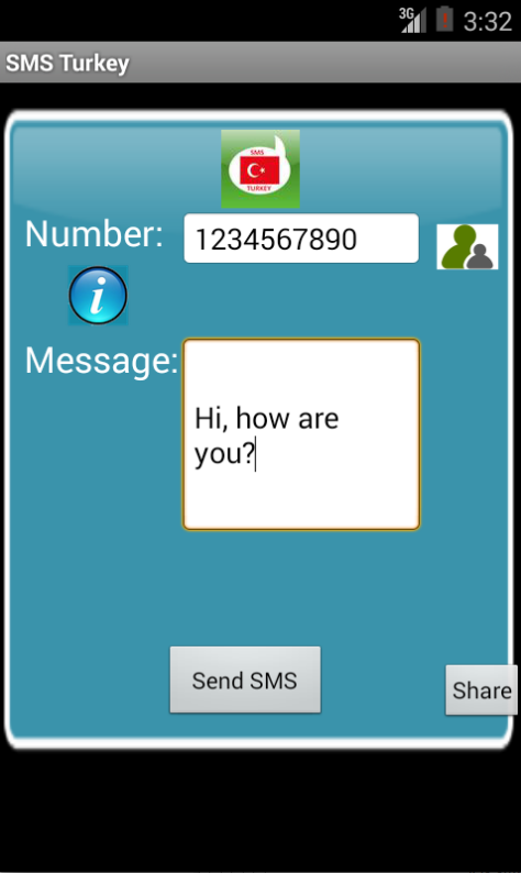 Free SMS Turkey Android App Screenshot Launch Screen