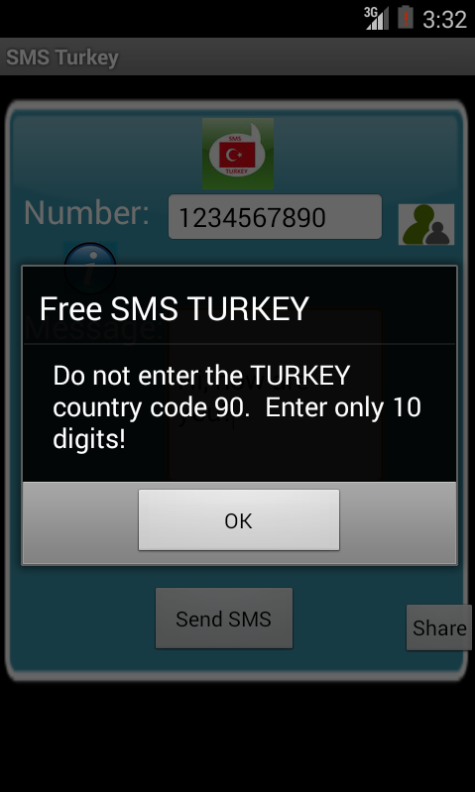 Free SMS Turkey Android App Screenshot Number Screen