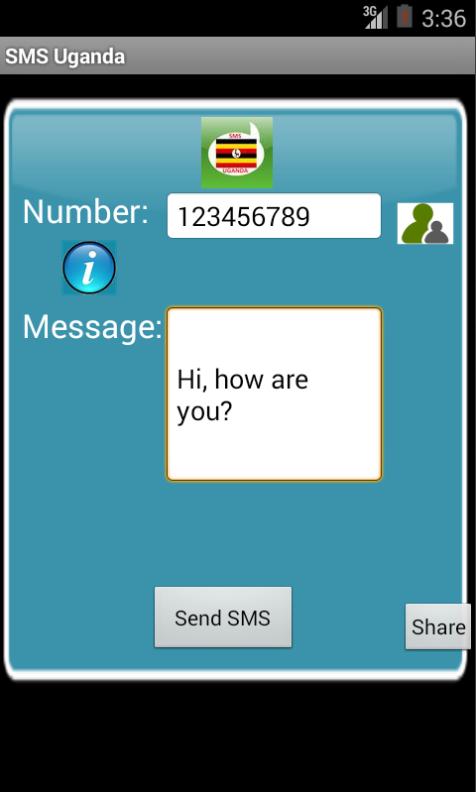 Free SMS Uganda Android App Screenshot Launch Screen