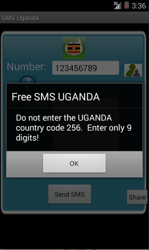 Free SMS Uganda Android App Screenshot Number Screen