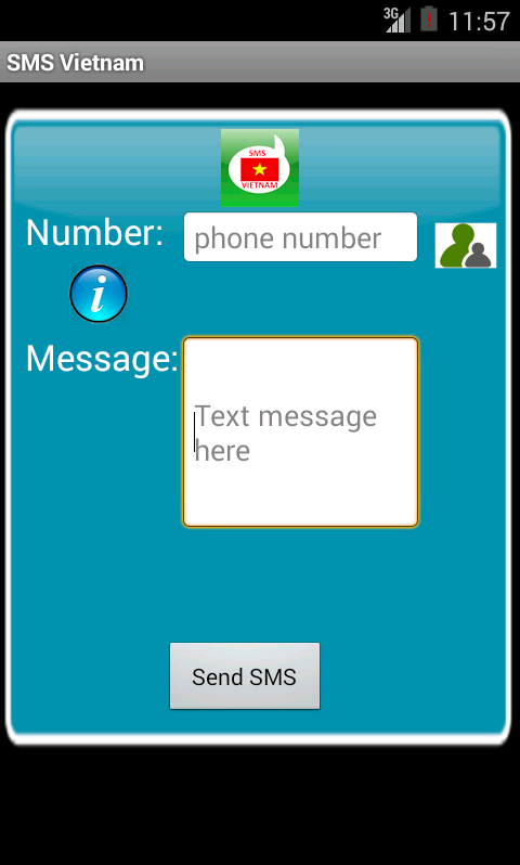 Free SMS Vietnam Android App Screenshot Launch Screen