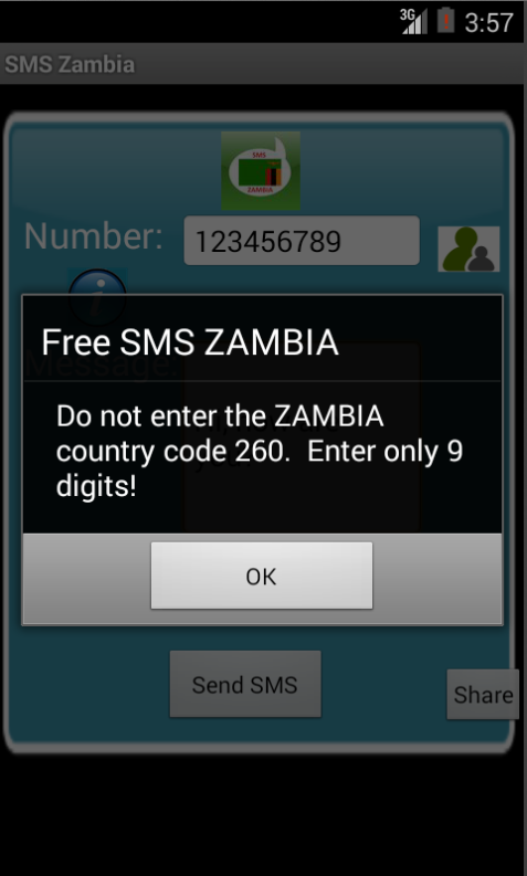 Free SMS Zambia Android App Screenshot Number Screen