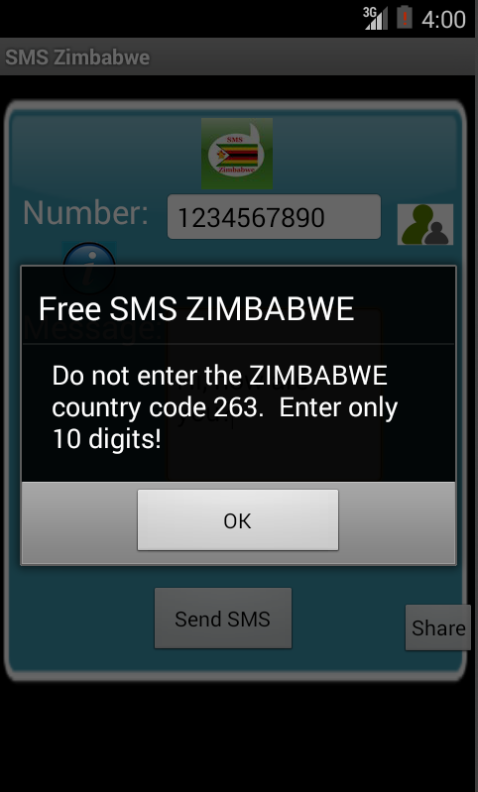 Free SMS Zimbabwe Android App Screenshot Number Screen